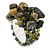 Olive Green, Hematite Semiprecious Chip Cluster Flex Ring
