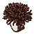 Large Chocolate Brown Glass Bead Flower Stretch Ring - 45mm D