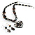 Black Glass Heart Fashion Necklace & Earrings - view 16
