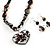 Black Glass Heart Fashion Necklace & Earrings - view 17