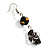 Black Glass Heart Fashion Necklace & Earrings - view 8