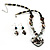 Black Glass Heart Fashion Necklace & Earrings - view 1