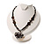 Black Glass Heart Fashion Necklace & Earrings - view 6