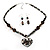 Black Glass Heart Fashion Necklace & Earrings - view 14
