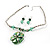 Green Glass Floral Fashion Set (Necklace & Earrings) - view 9