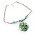 Green Glass Floral Fashion Set (Necklace & Earrings) - view 10