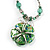 Green Glass Floral Fashion Set (Necklace & Earrings) - view 11