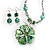 Green Glass Floral Fashion Set (Necklace & Earrings) - view 2