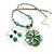 Green Glass Floral Fashion Set (Necklace & Earrings) - view 4