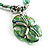 Green Glass Floral Fashion Set (Necklace & Earrings) - view 5