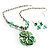 Green Glass Floral Fashion Set (Necklace & Earrings) - view 13