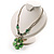 Green Glass Floral Fashion Set (Necklace & Earrings) - view 16