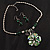 Green Glass Floral Fashion Set (Necklace & Earrings) - view 3