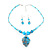 Blue Glass Bead Leaf Pendant & Earring Fashion Set - view 12