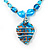 Blue Glass Bead Leaf Pendant & Earring Fashion Set - view 4
