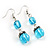 Blue Glass Bead Leaf Pendant & Earring Fashion Set - view 5