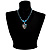 Blue Glass Bead Leaf Pendant & Earring Fashion Set - view 7