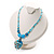 Blue Glass Bead Leaf Pendant & Earring Fashion Set - view 6