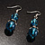 Blue Glass Bead Leaf Pendant & Earring Fashion Set - view 10
