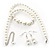 White Classic Glass Pearl Necklace & Drop Earring Set - view 7