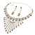 Treasured Heirloom Bib Necklace And Drop Earring Set (Silver Tone) - view 10