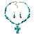 Turquoise Bead Cross Necklace And Drop Earrings Set (Silver Tone) - view 6