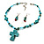 Turquoise Bead Cross Necklace And Drop Earrings Set (Silver Tone) - view 7