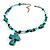 Turquoise Bead Cross Necklace And Drop Earrings Set (Silver Tone) - view 8