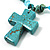 Turquoise Bead Cross Necklace And Drop Earrings Set (Silver Tone) - view 4