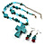 Turquoise Bead Cross Necklace And Drop Earrings Set (Silver Tone) - view 1
