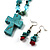 Turquoise Bead Cross Necklace And Drop Earrings Set (Silver Tone) - view 2