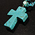 Turquoise Bead Cross Necklace And Drop Earrings Set (Silver Tone) - view 11