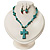 Turquoise Bead Cross Necklace And Drop Earrings Set (Silver Tone) - view 3