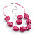 Raspberry Heart Resin Cotton Cord Necklace & Drop Earrings Set (Silver Tone) - 42cm Lenght