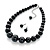 Jet Black Acrylic Bead Choker Necklace And Stud Earring Set In Silver Tone - 34cm L/ 7cm Ext - view 2
