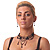Victorian/ Gothic/ Burlesque Black Bead Choker And Earrings Set - view 2