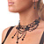 Victorian/ Gothic/ Burlesque Black Bead Choker And Earrings Set - view 7