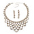 Luxury Swarovski Crystal Bib Necklace And Drop Earring Set (Silver Tone) - view 10