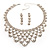 Luxury Swarovski Crystal Bib Necklace And Drop Earring Set (Silver Tone) - view 12