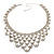 Luxury Swarovski Crystal Bib Necklace And Drop Earring Set (Silver Tone) - view 4