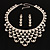 Luxury Swarovski Crystal Bib Necklace And Drop Earring Set (Silver Tone) - view 2