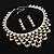 Luxury Swarovski Crystal Bib Necklace And Drop Earring Set (Silver Tone) - view 7