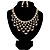 Luxury Swarovski Crystal Bib Necklace And Drop Earring Set (Silver Tone)