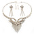 Swarovski Crystal Modern Appeal Bib Necklace and Earrings Set (Silver Tone) - view 7
