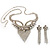 Swarovski Crystal Modern Appeal Bib Necklace and Earrings Set (Silver Tone) - view 13