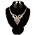 Swarovski Crystal Modern Appeal Bib Necklace and Earrings Set (Silver Tone) - view 1