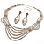 Bridal Diamante Wavy Style Bib Necklace & Drop Earrings Set (Silver Tone) - view 8