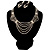 Bridal Diamante Wavy Style Bib Necklace & Drop Earrings Set (Silver Tone) - view 1