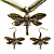 Olive Green Enamel Dragonfly Organza Cord Necklace &amp; Drop Earrings Set (Bronze Tone)