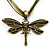 Olive Green Enamel Dragonfly Organza Cord Necklace &amp; Drop Earrings Set (Bronze Tone) - view 4